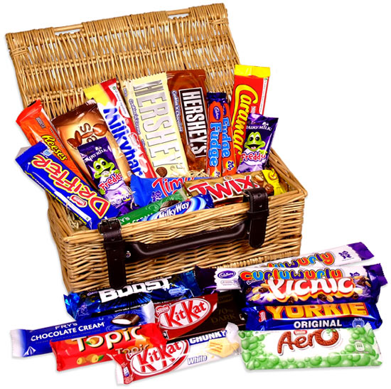 Chocolate Picnic Wicker Hamper Sweets And Gifts