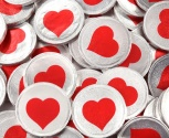 Chocolate Silver And Red Heart Coins