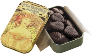 Amatller Chocolate 70% Dark Chocolate Leaves Gift Tin