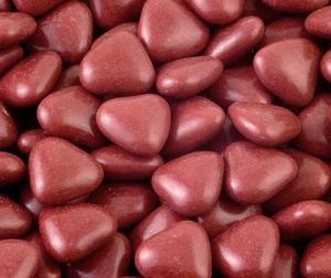 Mini Burgundy Chocolate Heart Dragees