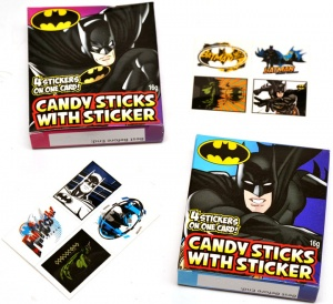 Batman Candy Sticks With Stickers