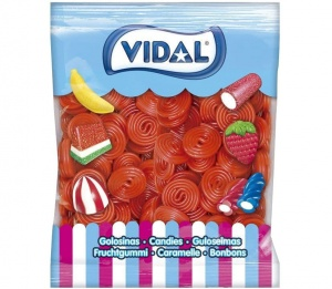 Strawberry Liquorice Wheels (Vidal) 1Kg Bag