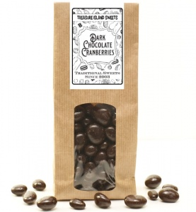 Dark Chocolate Coated Cranberries - 250g Eco Kraft Gift Bag