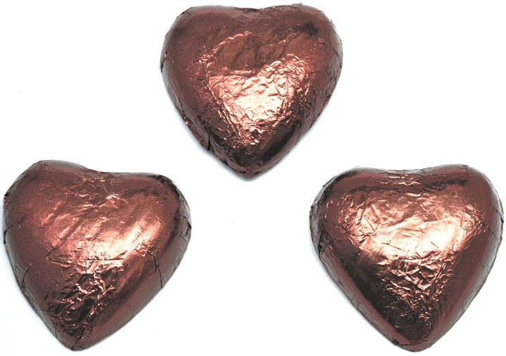 Brown Chocolate Hearts x 180 - BEST BEFORE END OF OCTOBER 2020