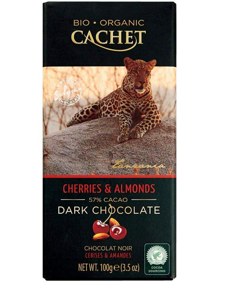 Cachet Cherries & Almonds Organic Dark Chocolate Bar