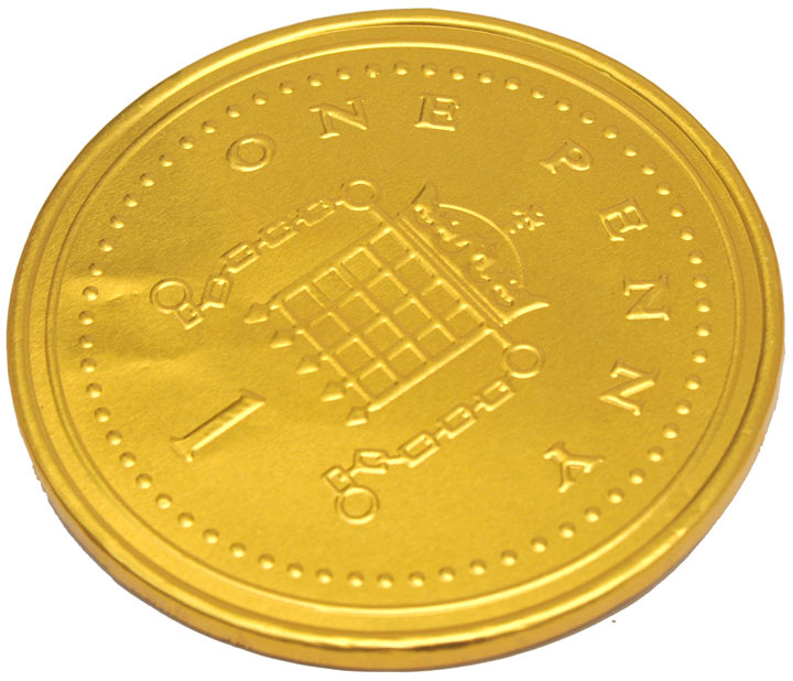 Giant One Penny Milk Chocolate Gold Coin 120mm