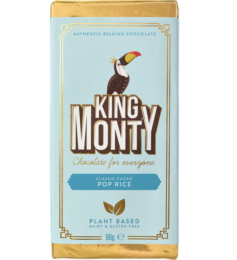 King Monty Vegan Chocolate Bar Pop Rice 90g