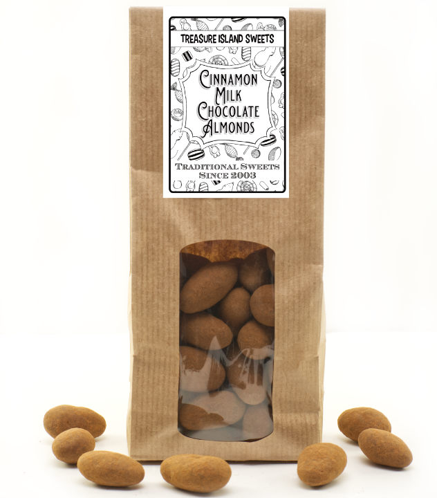 Cinnamon Dusted Milk Chocolate Almonds - 250g Eco Kraft Gift Bag