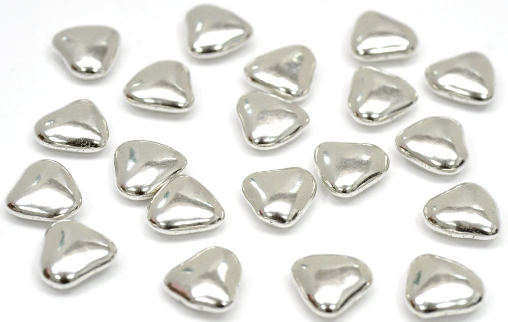 Mini Silver Chocolate Heart Dragees