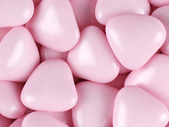 Mini Pink Chocolate Heart Dragees (1Kg Box) Approx 860 Hearts