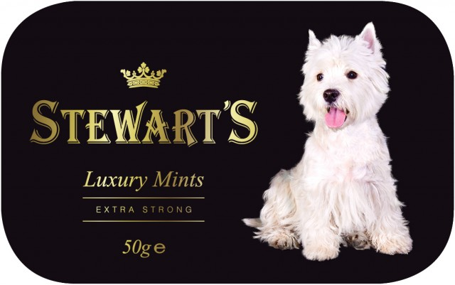 Stewarts Mints - Westie Embossed Tin (Black Tin) (best before 30.09.19)