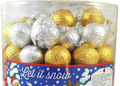 Tree Decorations Tub Of 100 Chocolate Baubles