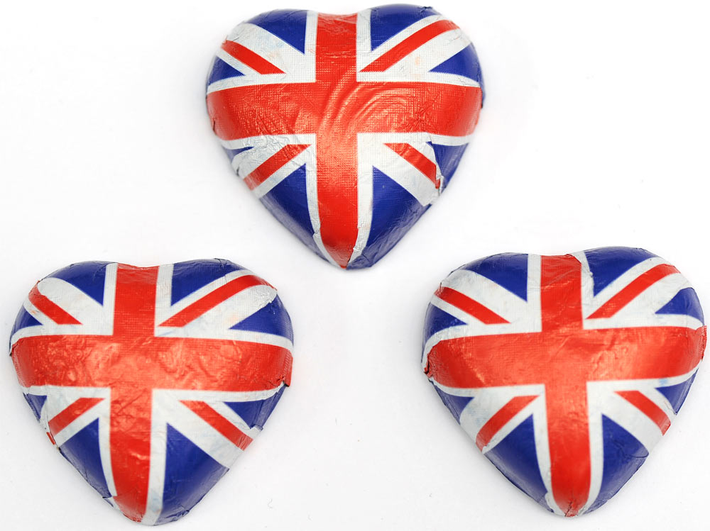 Union Jack (Flag) Milk Chocolate Hearts x 80