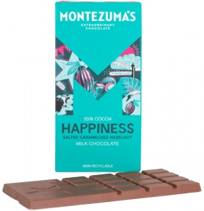 Montezumas 'Happiness' Milk Chocolate Salted Caramelised Hazelnut Bar (best before 11.07.20)