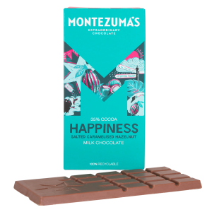 Montezumas 'Happiness' Milk Chocolate Salted Caramelised Hazelnut Bar