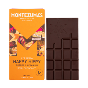 Montezumas 'Happy Hippy' Orange & Geranium 74% Dark Chocolate