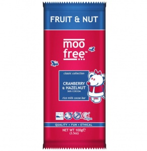 Moo Free Fruit & Nut Chocolate Bar 100g  (best before 31.10.20)