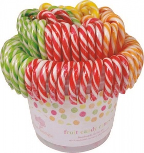 Candy Canes (Fruit Flavour All Natural, Handmade)  Tub Of 96