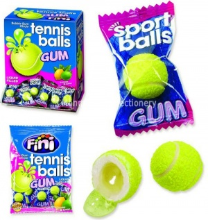Tennis Balls Lemon & Lime Flavour Liquid Filled Bubblegum