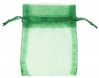Hunter Green Organza Bags x 10