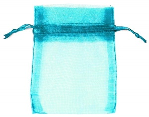 Turquoise Organza Bags x 10
